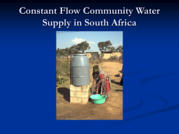 Constant Flow Community Water Supply in South Africa