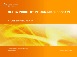NOPTA Industry Information Session - Perth