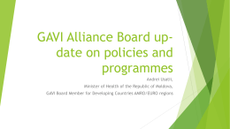 GAVI Alliance Board up-date on policies and