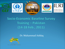 Socio-Economic Baseline Survey Training – Pakistan, By Dr