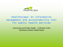 Healthscape - Community and Public Health