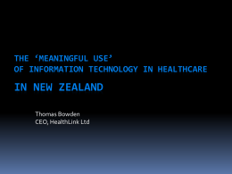 Development of Electronic Health Records within the New Zealand