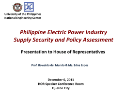 Philippine Electric Power Industry Supply Security and Policy