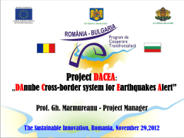 "Project DACEA: ""DAnube Cross-border system for Earthquakes Alert"""
