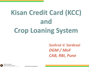 "Webinar on ""KCC and Crop Loaning System"" on November"