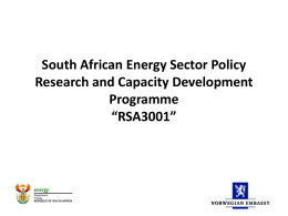 South African Energy Sector Policy Research and