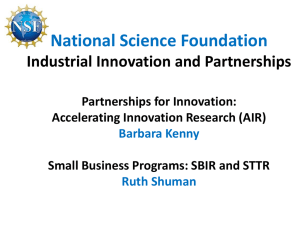 AIR/SBIR/STTR - the ERC Program