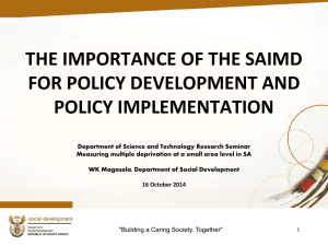 Importance of SAIMD for policy development and