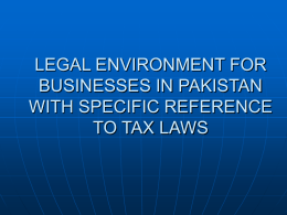 legal environment for business in pakistan with specific reference