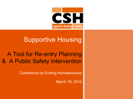 Supportive Housing: A Tool for Re-entry Planning