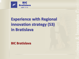 Experience with Regional innovation strategy (S3)