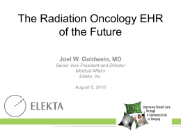 The Radiation Oncology EHR of the Future