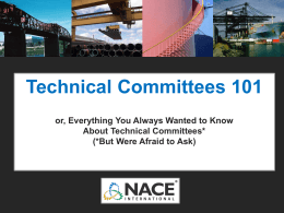 NACE Technical Committees 101