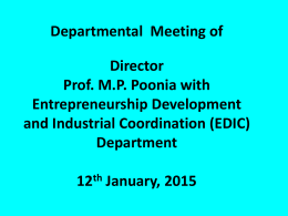 Departmental Meeting on 12.01.2015