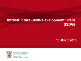 Integrated Skills Development Grant (ISDG) - NDP