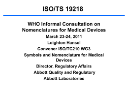 ISO/TS 19218 WHO Informal Consultation on Nomenclatures for