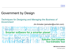 Government by Design: Techniques for Designing and Managing