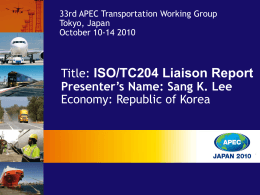 Updated Status of ISO26683 - Asia-Pacific Economic Cooperation