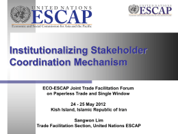 Session 4 – Institutionalizing Stakeholder Coordination