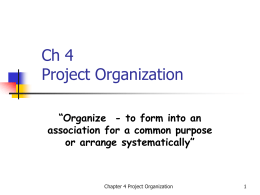 Project Organization - Faculty of Mechanical Engineering