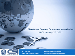 Consulting services inc. - Charleston Defense Contractors Association