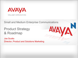 Small and Medium Enterprise Strategy and Plan To - Avaya