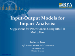Input-Output Models for Impact Analysis: Suggestions for