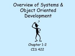 Overview of OO Systems Development