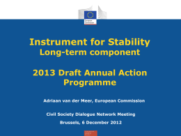 Draft 2013 Instrument for Stability Annual Action Programme