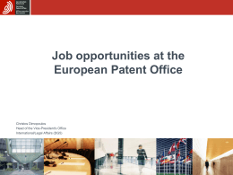 Job opportunities at the European Patent Office