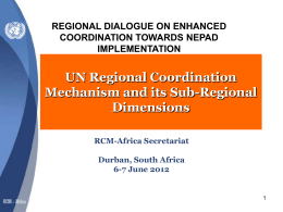 UN Regional Coordination Mechanism and its Sub