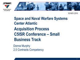 Acquisition Process C5ISR Conference – Small