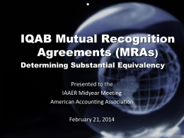 IQAB Mutual Recognition Agreements