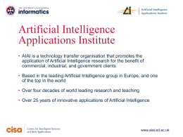 2011-AIAI-Intro - Artificial Intelligence Applications Institute