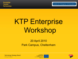 KTP Workshop Presentation - Insight – University of Gloucestershire