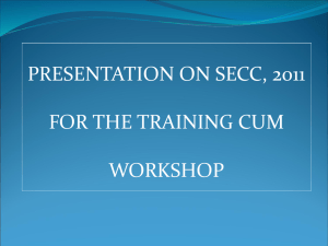presentation on secc, 2011 for the training programme to be held on