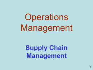 Operations Management Supply Chain Management