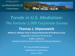 Trends in U.S. Mediation - University of Stellenbosch Business School