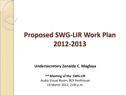 2012-2013 Proposed SWG-LIR Work Plan