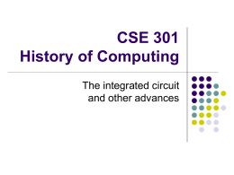CSE 301 History of Computing - Computer Science Department