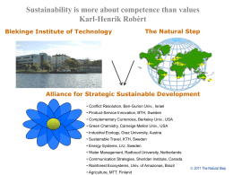 The Natural Step Alliance for Strategic Sustainable Development