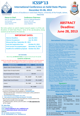 ICSSP13_Poster - University of the Punjab