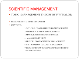 F W TAYLOR`S CONTIBUTION TOWARDS MANAGEMENT
