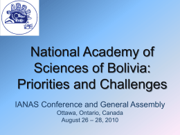 National Academy of Sciences of Bolivia: priorities and