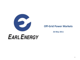 Off-Grid Power Markets