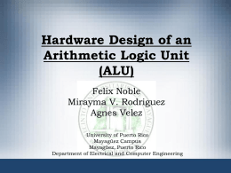 Hardware Design of an Arithmetic Logic Unit