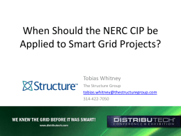 When Should the NERC CIP be Applied to Smart