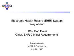 Electronic Health Record (EHR) System Way Ahead