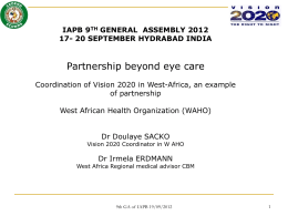 Doulaye Sacko_Coordination of Vision 2020 in West