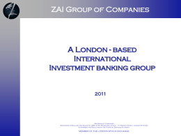 based International Investment banking group 2011